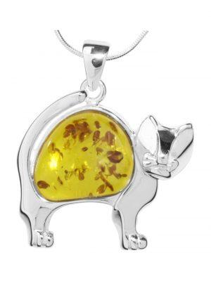 Kette mit Anhänger Katze Silber 925/000 Bernstein OSTSEE-SCHMUCK silber