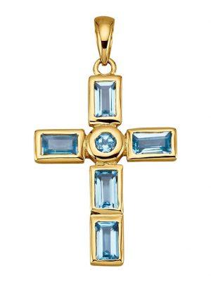 Kreuz-Anhänger Diemer Farbstein Blau