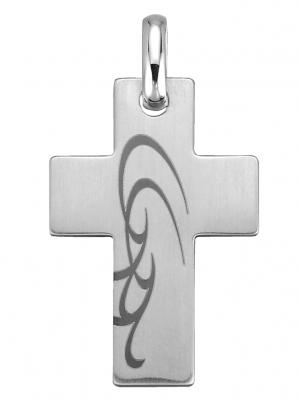 Kreuz-Anhänger mit Lasergravur Adamo Weiß
