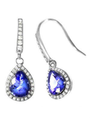 Ohrhänger 750/- Gold Tansanit blau Tansanit 2,7 Glänzend 1,96ct. Creazione Bijoux weiß