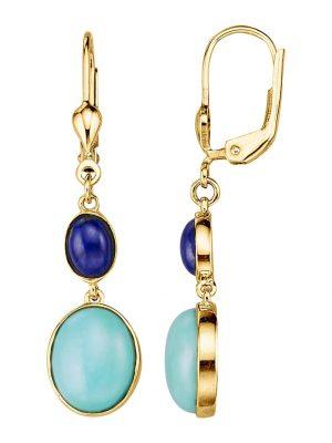 Ohrringe mit Türkisen und Lapislazuli Diemer Farbstein Blau