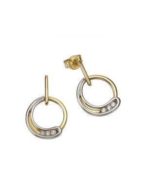 Ohrstecker 585/- Gelb- + Weißgold Brillanten 585/- Gold Brillant weiß 2,2cm Glänzend 0,12ct Orolino mehrfarbig