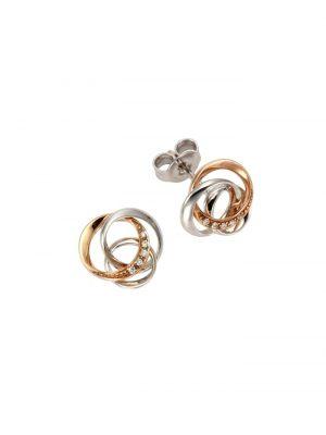 Ohrstecker 585/- Rot- + Weißgold Brillant 585/- Gold Brillant weiß 1,08cm Glänzend 0,04ct Orolino mehrfarbig