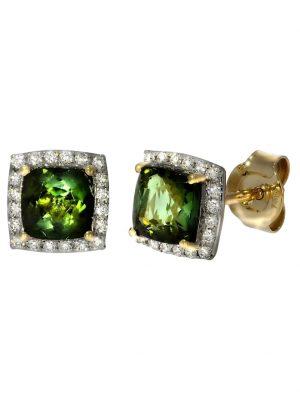 Ohrstecker 750/- Gold Turmalin grün Turmalin 0,8cm Glänzend 1,7ct. Creazione Bijoux gelb