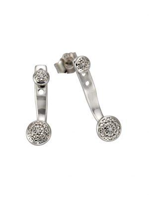 Ohrstecker 925/- Sterling Silber Diamant weiß Diamant 2cm Glänzend 0,01 Celesta Silbergrau