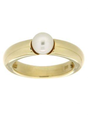Ring 585/- Gold Akoya Zuchtperle Glänzend Orolino Weiß