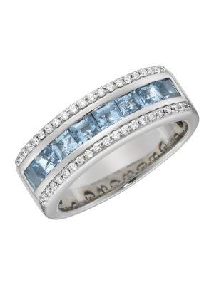 Ring 750/- Gold Saphir hellblau Saphir Glänzend 1,359ct. Creazione Bijoux weiß