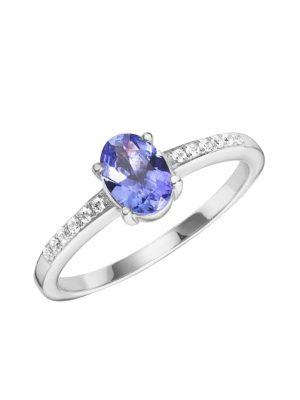 Ring 750/- Gold Tansanit blau 5 Glänzend 0,81 Creazione Bijoux weiß