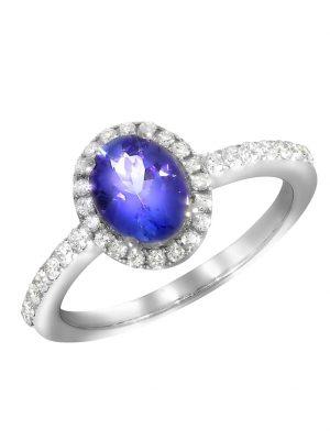 Ring 750/- Gold Tansanit blau Tansanit Glänzend 1,43ct. Creazione Bijoux weiß