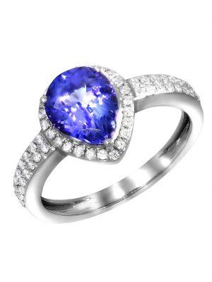 Ring 750/- Gold Tansanit blau Tansanit Glänzend 1,70ct. Creazione Bijoux weiß