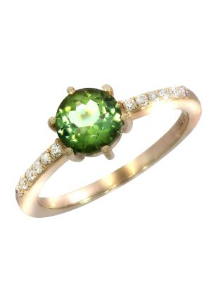 Ring 750/- Gold Turmalin grün Turmalin Glänzend 1,2ct. Creazione Bijoux rot