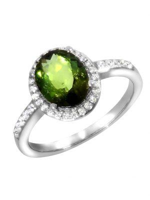 Ring 750/- Gold Turmalin grün Turmalin Glänzend 2,07ct. Creazione Bijoux weiß