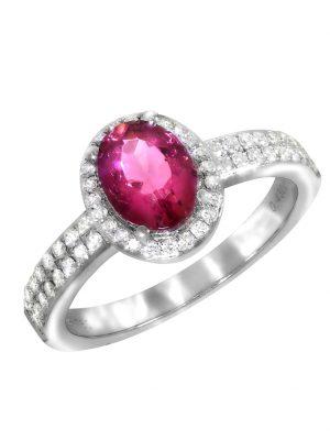 Ring 750/- Gold Turmalin pink Turmalin Glänzend 1,43ct. Creazione Bijoux weiß