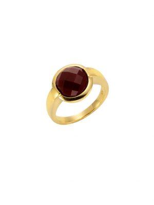 Ring 925/- Sterling Silber Achat rot Glänzend Jamelli gelb