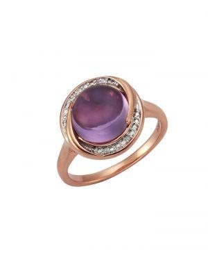 Ring 925/- Sterling Silber Amethyst lila Amethyst Glänzend 0,01 Celesta rot