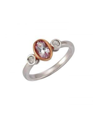Ring 925/- Sterling Silber Diamant weiß Diamant Bicolor 0,005 Celesta mehrfarbig