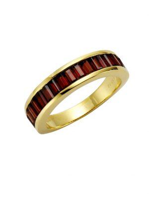 Ring 925/- Sterling Silber Granat rot Glänzend Jamelli gelb