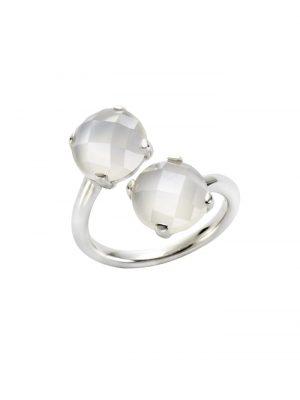 Ring 925/- Sterling Silber Mondstein weiß Glänzend Jamelli weiß