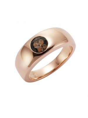 Ring 925/- Sterling Silber Rauchquarz braun Glänzend Jamelli rot