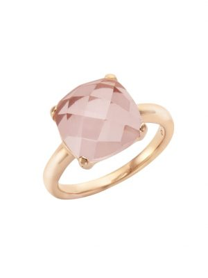 Ring 925/- Sterling Silber Rosenquarz rosa Glänzend Jamelli rot