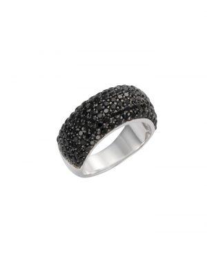 Ring 925/- Sterling Silber syn. Spinell schwarz Glänzend Celesta Silbergrau