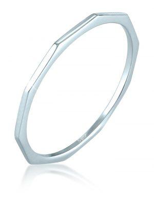 Ring Bandring Geo Basic Minimal Look 585 Weißgold Elli Premium Silber