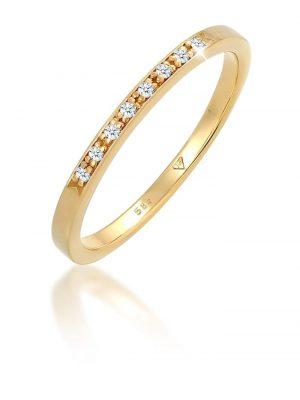 Ring Bandring Verlobung Diamant 0.08 Ct. 585 Gelbgold Elli DIAMONDS Weiß