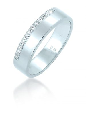 Ring Bandring Verlobung Diamant (0.12 Ct.) 585 Weißgold Elli DIAMONDS Silber
