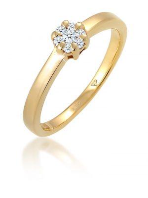 Ring Blume Verlobung Diamant (0.15 Ct.) 585 Gelbgold Elli DIAMONDS Gold