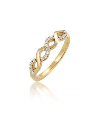 Ring Infinity Verlobung Diamant 0.18 Ct. 585 Gelbgold DIAMORE Weiß