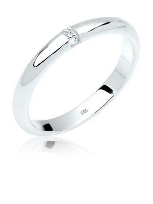 Ring Klassisch Diamant (0.02 Ct.) 925 Sterling Silber Elli DIAMONDS Weiß