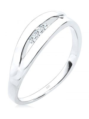 Ring Klassisch Trio Diamant (0.09 Ct.) 925 Silber Elli DIAMONDS Weiß