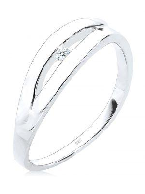 Ring Klassisch Verlobung Diamant 0.03 Ct. 925 Silber Elli DIAMONDS Weiß