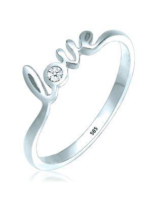 Ring Love-Schriftzug Diamant (0.03 Ct.) 585 Weißgold Elli DIAMONDS Weiß