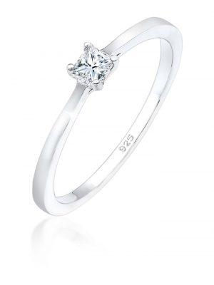 Ring Princess Cut Verlobung Diamant 0.11 Ct. 925 Silber Elli DIAMONDS Silber