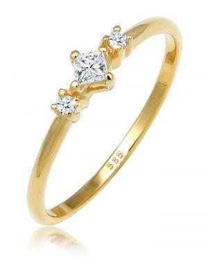 Ring Prinzessschliff Diamant (0.15 Ct) 585 Gelbgold Elli DIAMONDS Gold