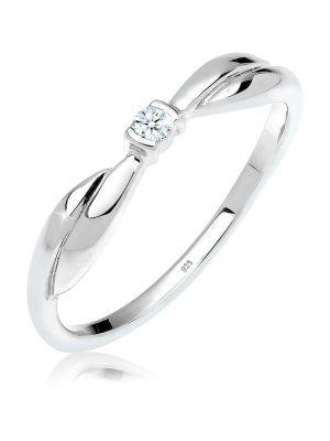 Ring Schleife Verlobung Diamant 0.03 Ct. 925 Silber Elli DIAMONDS Weiß