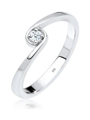 Ring Solitär Verlobung Diamant 0.03 Ct. 925 Silber Elli DIAMONDS Weiß