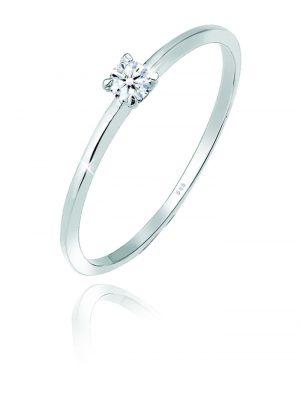 Ring Solitär Verlobung Diamant (0.06 Ct.) 585 Weißgold Elli DIAMONDS Silber