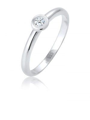 Ring Solitär Verlobung Diamant (0.06 Ct.) 925 Silber Elli DIAMONDS Silber