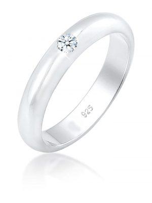 Ring Solitär Verlobung Diamant (0.06 Ct.) 925Er Silber Elli DIAMONDS Silber