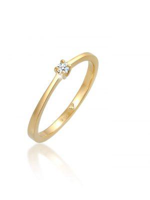 Ring Solitär Verlobung Diamant 0.10 Ct. 585 Gelbgold Elli DIAMONDS Weiß
