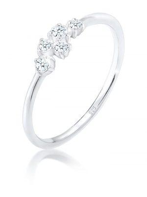 Ring Verlobung Diamant (0.12 Ct) Pavé 925 Silber Elli DIAMONDS Silber