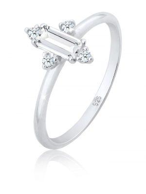 Ring Verlobung Edel Topas Diamant (0.08 Ct.) 925 Silber Elli Premium Silber