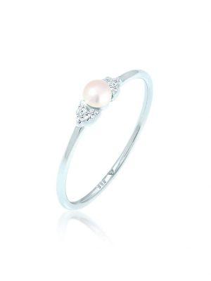 Ring Verlobung Perle Diamant (0.06 Ct.) 585 Weißgold Elli DIAMONDS Weiß