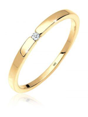 Ring Verlobung Solitär Diamant 0.02 Ct. 585 Gelbgold Elli Premium Weiß