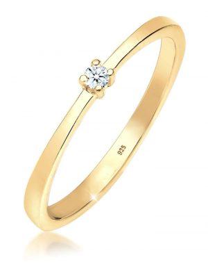 Ring Verlobung Solitär Diamant (0.03 Ct.) 925 Silber Elli DIAMONDS Gold