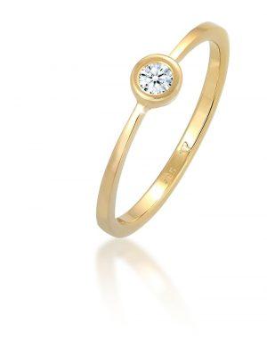 Ring Verlobung Solitär Diamant 0.06 Ct. 585 Gelbgold Elli DIAMONDS Weiß