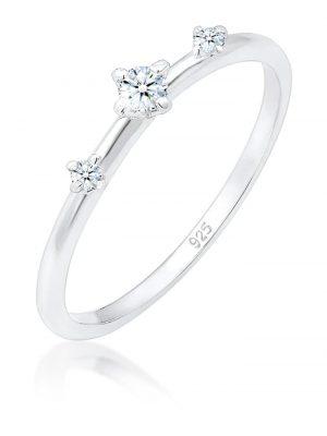 Ring Verlobung Vintage Trio Diamant (0.1 Ct) 925 Silber Elli DIAMONDS Silber