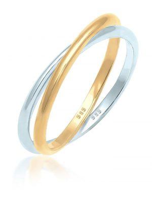 Ring Wickelring Bi-Color Zeitlos 585 Gelbgold Weißgold Elli Premium Gold